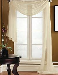 Sheer Swag Curtains Valances Gorgeous Home 1 Pc Solid Beige Scarf Valance Soft Sheer Voile