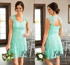 new arrival 2017 mint green lace short bridesmaid dresses cap