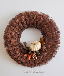 ribbon wreath fall pumpkin metallic ribbon wreath made in a day