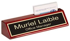 Desk Name Plates With Business Card Holder Desk Plaques Nameplates