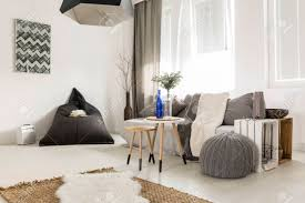 light livng room with bean bag comfortable sofa diy table