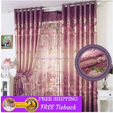 Purple Floral Curtains Floral Purple Beige Green Curtains Fabric Bedroom Door Drapes