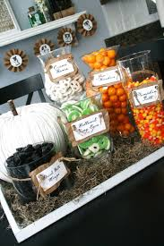 halloween bday party ideas dollar store glass jars and labels easy and effective love the