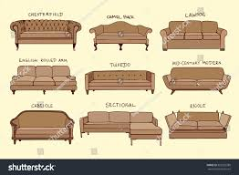 vector visual guide sofa design styles stock vector 352302389