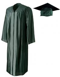 shiny forest green cap gown graduationsource