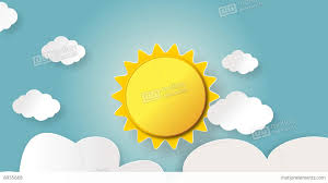 rising and shining sun with cartoon cloud floating after effects