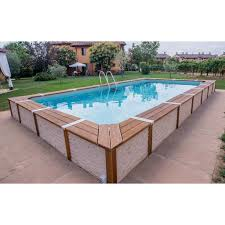 rivestimento in legno per piscine fuori terra fuori terra con rivestimento in pannelli finta pietra mattone