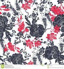 kimono repeat pattern vector charcoal red kimono flowers seamless stock vector