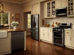 Kitchen White Cabinets Black Appliances Country Kitchen With Black Appliances White Showing Chic White