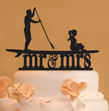 up cake topper stand up paddleboard with mr and mrs wedding cake topper