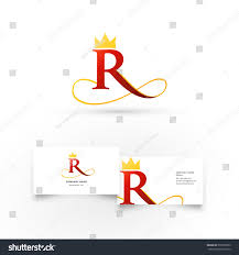 Crown Business Cards Modern Icon Design R Letter Shape Stock Vector 531060553