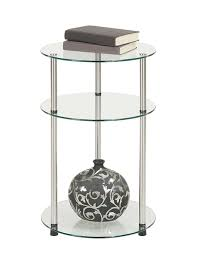 Living Room Glass Table Amazon Com Convenience Concepts Designs2go Go Accsense 3 Tier