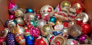 oodles and oodles sorting through vintage ornaments