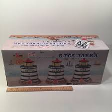 lighthouse canister set 3 piece kitchen ceramic storage jars sugar