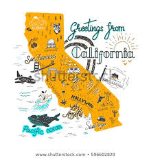 California How To Travel For Free images Hand drawn illustration california map tourist stock vector jpg