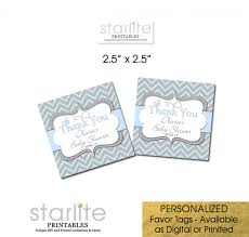 baby shower favor tags boy blue gray chevron cake pop tags