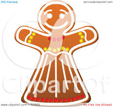 clipart of a christmas gingerbread woman cookie royalty free