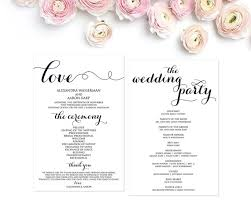 programs for a wedding wedding program template wedding programs ceremony program