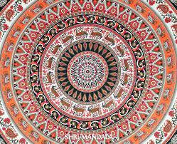orange black round elephant mandala duvet cover queen shri mandala