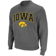 iowa hawkeye sweater s stadium athletic charcoal iowa hawkeyes arch logo crew