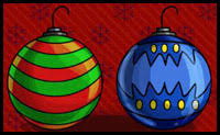 how to draw ornaments with easy tree balls step by