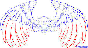 draw a skull with wings step by step drawing sheets added by