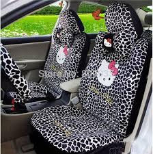 housse de siege hello hellokitty auto voiture en peluche léopard sterring avant de la roue