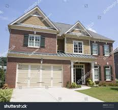 nice brick two story house wood stock photo 15860197 shutterstock