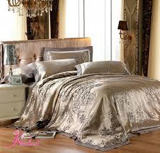 Luxury Bed Linen Sets Luxury Bed Linens Silk Satin Jacquard 4pcs Silver Bedding Set