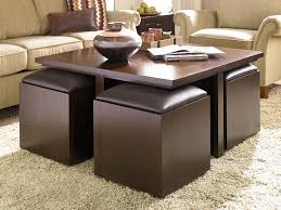 Ottoman With Table Brown Leather Ottoman Coffee Table With Trays Dans Design Magz