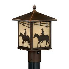 outdoor rustic lighting cowboy rider outdoor post light