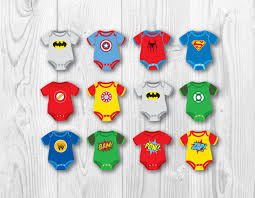 superhero baby cupcake toppers baby onesie cake toppers party