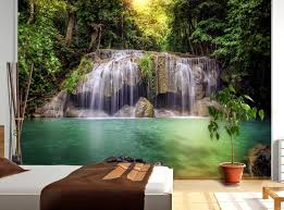Wall Murals For Living Room Wallandmore Giant Nature Trees U0026 Waterfall Wall Decal Mural For