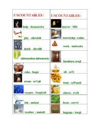 Countable And Uncountable Nouns List Worksheets Uncountable Nouns List