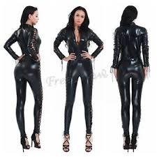 zipper jumpsuit womens look zipper lace up patent leather catsuit bodysuit
