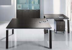 bureau carré mobilier de direction bureau design ébénisterie plateau verre ou