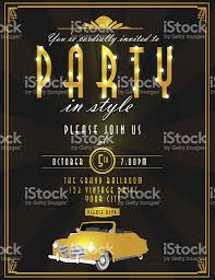 art deco style vintage party invitation design template classic