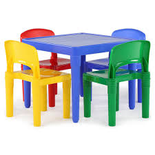 plastic table with chairs tot tutors playtime 5 piece primary colors kids plastic table and