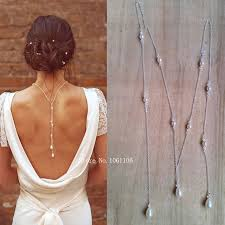 wedding backdrop necklace online shop tie lariat pearl bridal backdrop necklace