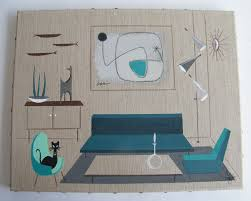 el gato gomez painting retro mid century modern eames knoll chair