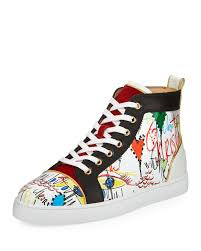 christian louboutin louis loubi tag men u0027s lace up sneaker in white