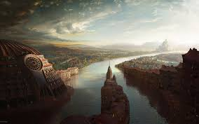 architecture paper supply fantasy river wallpaper photo image