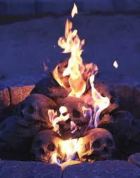 fire pit skull logs the green head