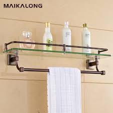 Bathroom Glass Shelves With Rail Bathroom Glass Shelf Wall Mount With Towel Bar And Rail Orb