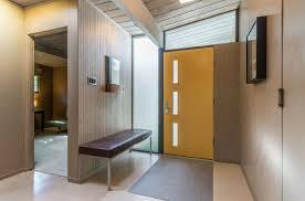 modern entryway with specialty door u0026 concrete floors in san mateo