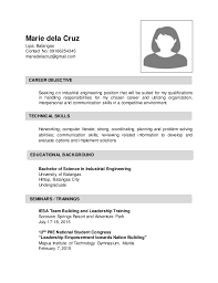 Sample Resume Undergraduate by Sample Resume For Industrial Enginering