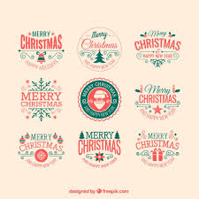 retro christmas badges vector free download