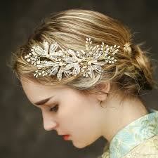 bridal hair clip pearl and rhinestone bridal hair clip luxury leaf side wedding