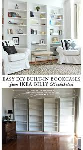 Living Room Built In Living How To Build Diy Built In Bookcases From Ikea Billy Bookshelves