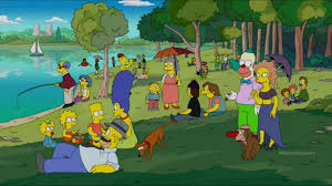 simpsons halloween of horror cthulhu in the background the gasoline station u2014 the simpsons x georges seurat culture